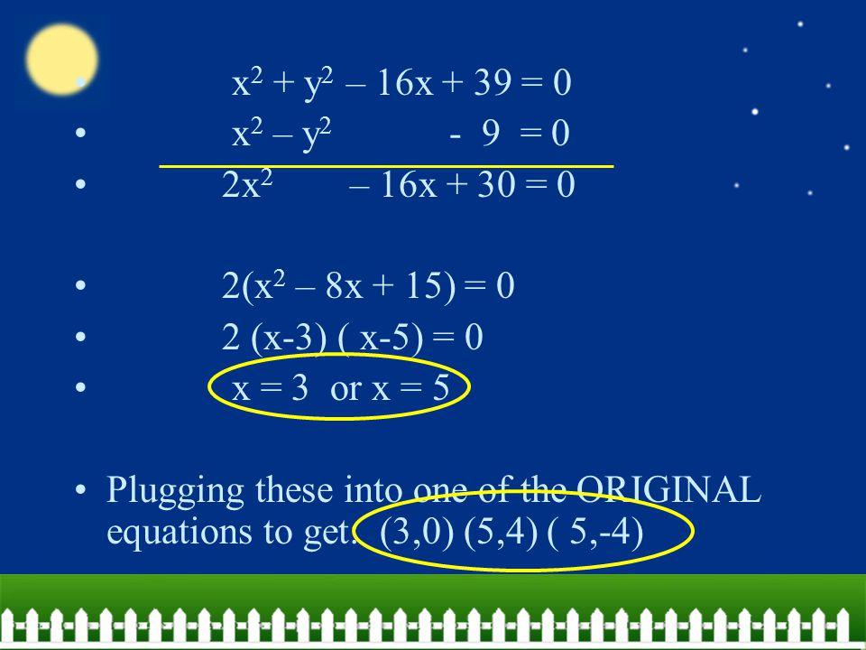 x 2 + y 2 – 16x + 39 = 0 x 2 – y 2 - 9 = 0 2x 2 – 16x + 30 = 0 2(x 2 – 8x + 15) = 0 2 (x-3) ( x-5) = 0 x = 3 or x = 5 Plugging these into one of the ORIGINAL equations to get: (3,0) (5,4) ( 5,-4)