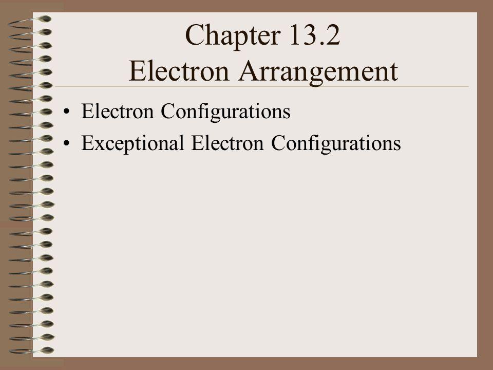 Chapter 13.2 Electron Arrangement Electron Configurations Exceptional Electron Configurations