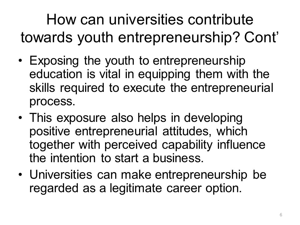 How can universities contribute towards youth entrepreneurship.