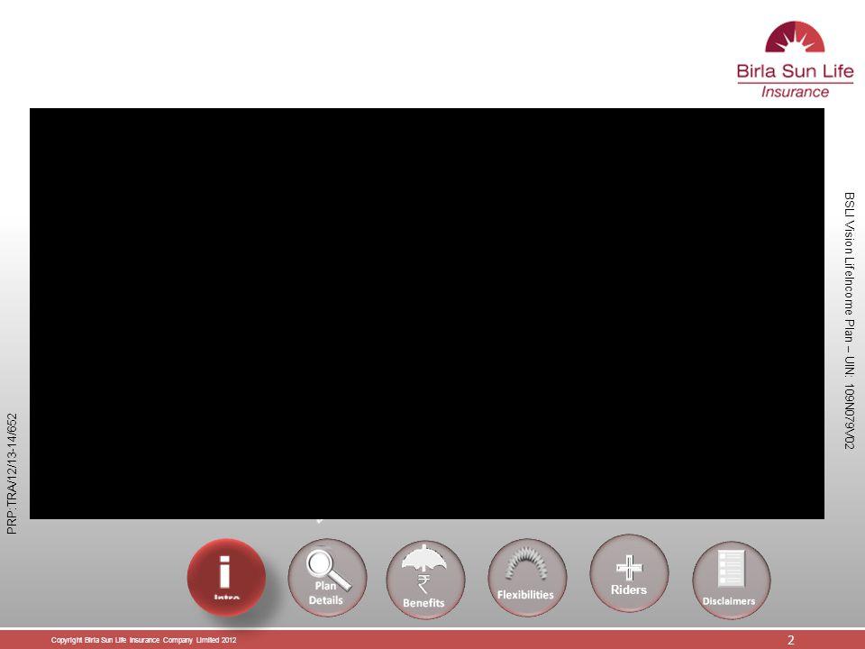 Copyright Birla Sun Life Insurance Company Limited 2012 13 BSLI Vision LifeIncome Plan – UIN: 109N079V02 PRP:TRA/12/13-14/652 Bonuses  Simple Revisionary Bonus based on bonus rate declared by BSLI  Terminal Bonus  BSLI will declare new bonus rate from time to time Riders
