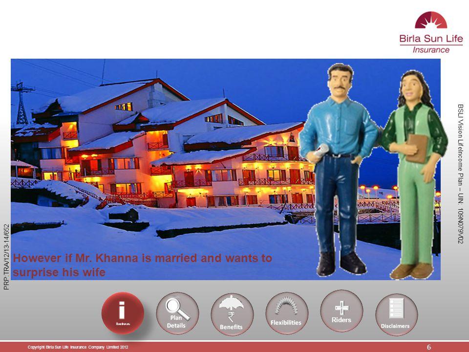 Copyright Birla Sun Life Insurance Company Limited 2012 7 BSLI Vision LifeIncome Plan – UIN: 109N079V02 PRP:TRA/12/13-14/652 If Mr.