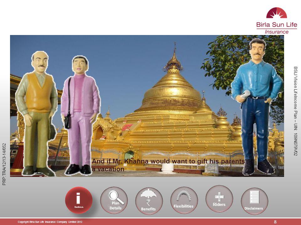 Copyright Birla Sun Life Insurance Company Limited 2012 19 BSLI Vision LifeIncome Plan – UIN: 109N079V02 PRP:TRA/12/13-14/652 Thank You