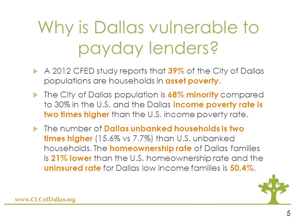 Why is Dallas vulnerable to payday lenders.