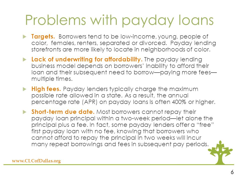Problems with payday loans  Targets.