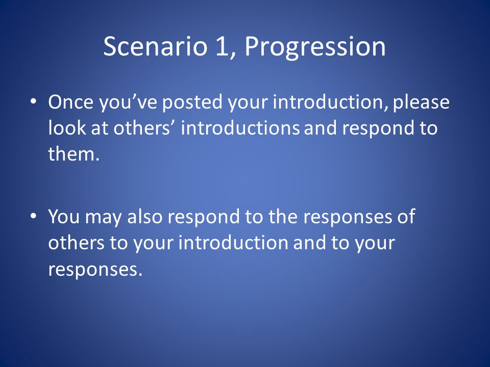 Engaging Introductions Example: Non-example: This prompt is very detailed about what students should include in their introductions and the students reciprocated their instructor's efforts by writing a very detailed introduction.