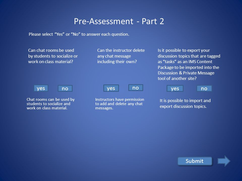 yes no Submit Pre-Assessment - Part 1 Is a close-ended question a good way to generate long and engaging discussion in the online learning environment