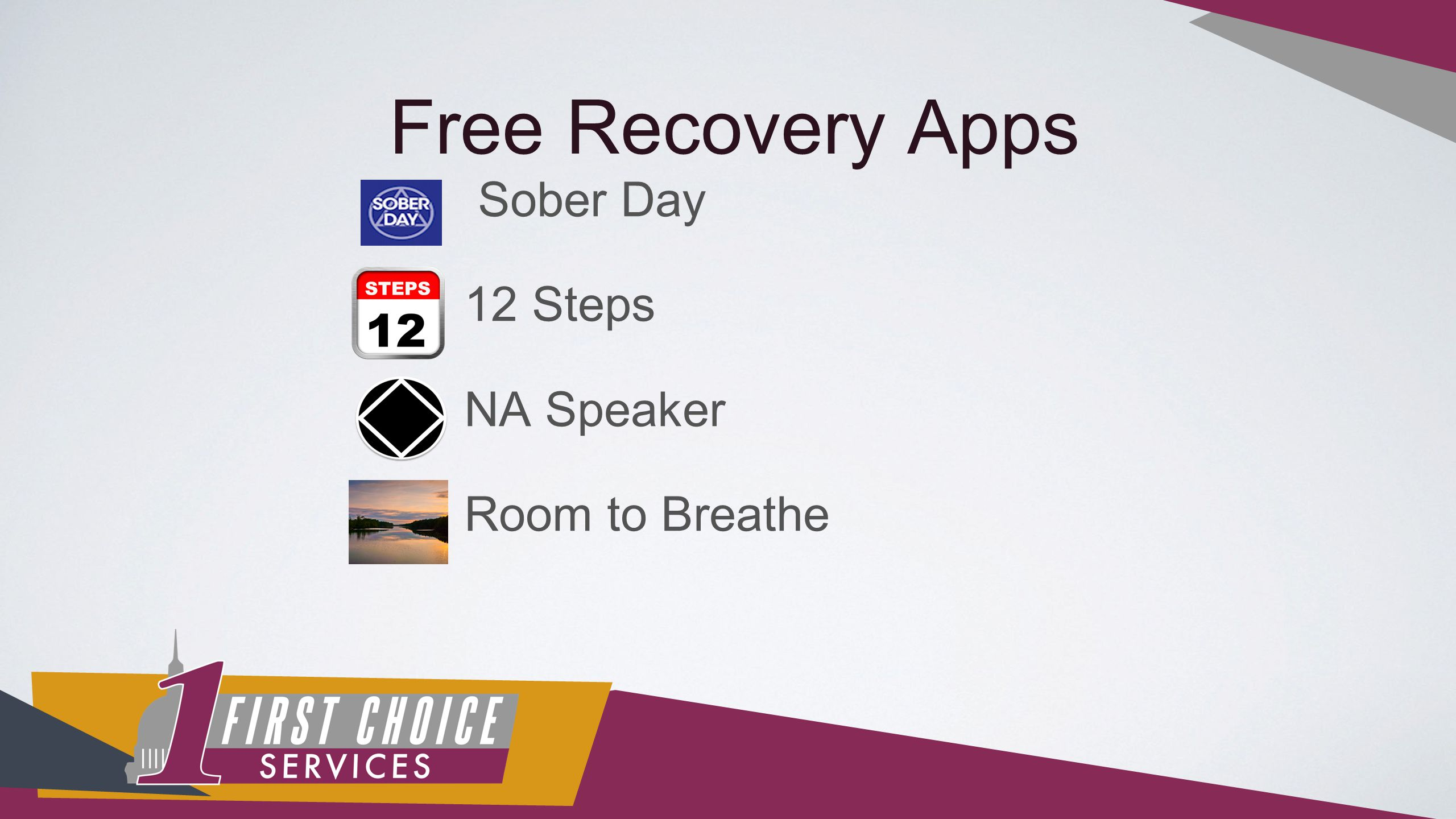 Free Recovery Apps Sober Day 12 Steps NA Speaker Room to Breathe
