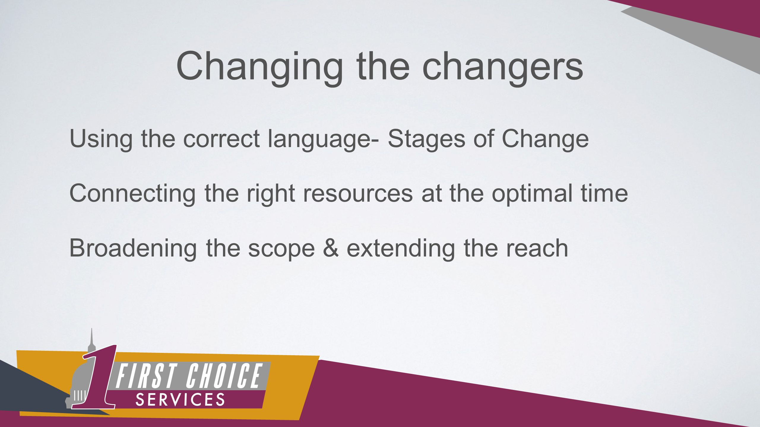 Changing the changers Using the correct language- Stages of Change Connecting the right resources at the optimal time Broadening the scope & extending the reach