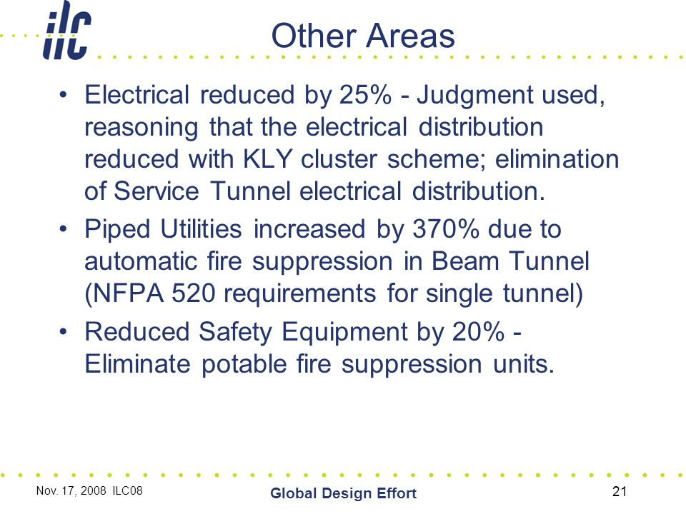 Other Areas Electrical reduced by 25% - Judgment used, reasoning that the electrical distribution reduced with KLY cluster scheme; elimination of Service Tunnel electrical distribution.
