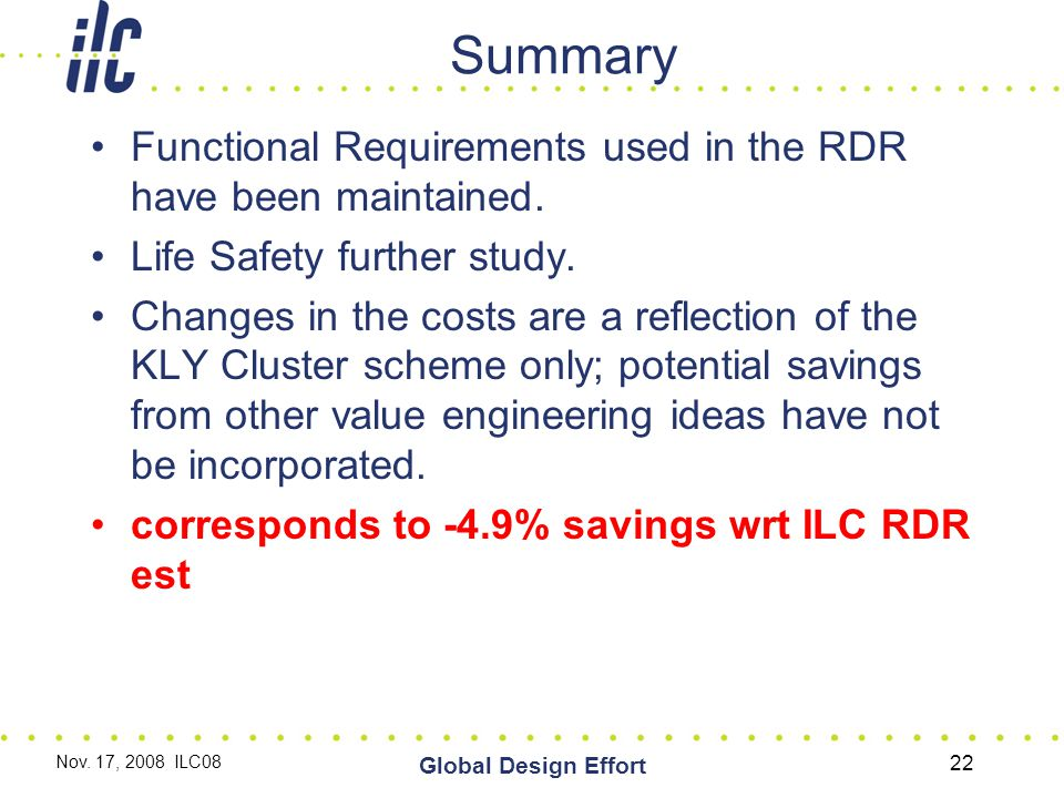 Summary Functional Requirements used in the RDR have been maintained.