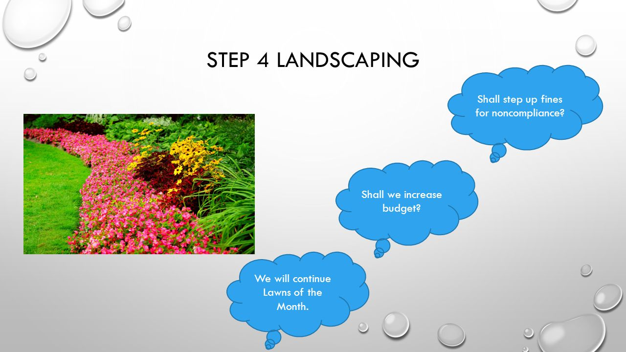 STEP 4 LANDSCAPING We will continue Lawns of the Month.