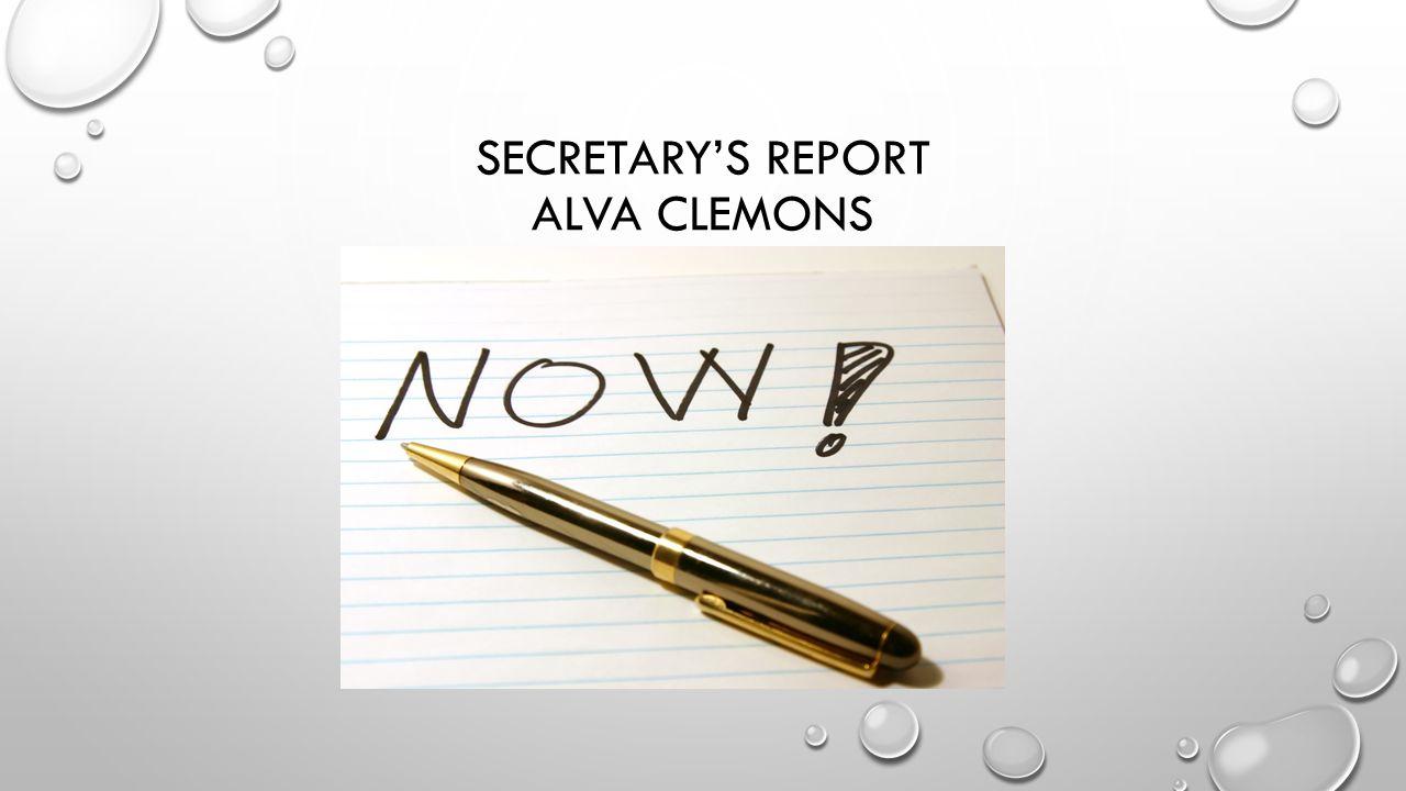 SECRETARY'S REPORT ALVA CLEMONS