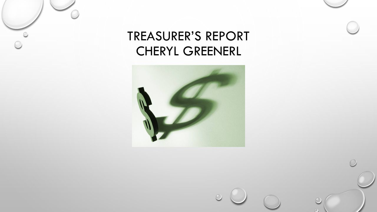 TREASURER'S REPORT CHERYL GREENERL
