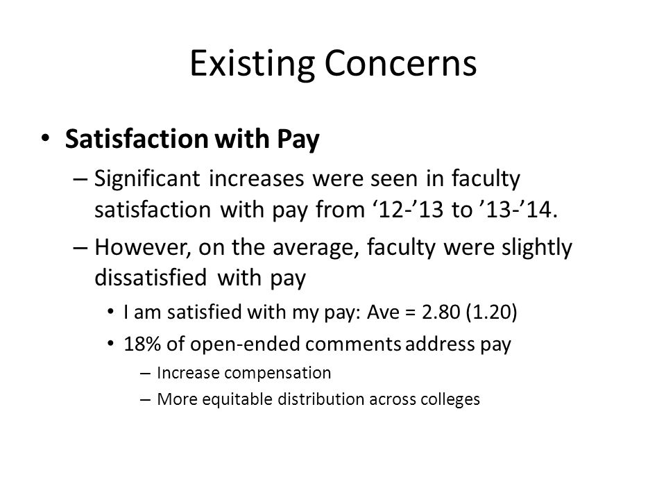 Existing Concerns Satisfaction with Pay – Significant increases were seen in faculty satisfaction with pay from '12-'13 to '13-'14. – However, on the