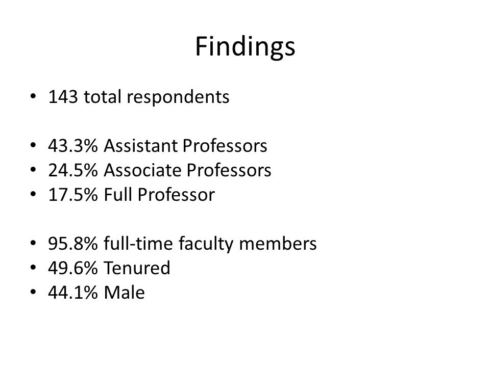 Findings 143 total respondents 43.3% Assistant Professors 24.5% Associate Professors 17.5% Full Professor 95.8% full-time faculty members 49.6% Tenured 44.1% Male