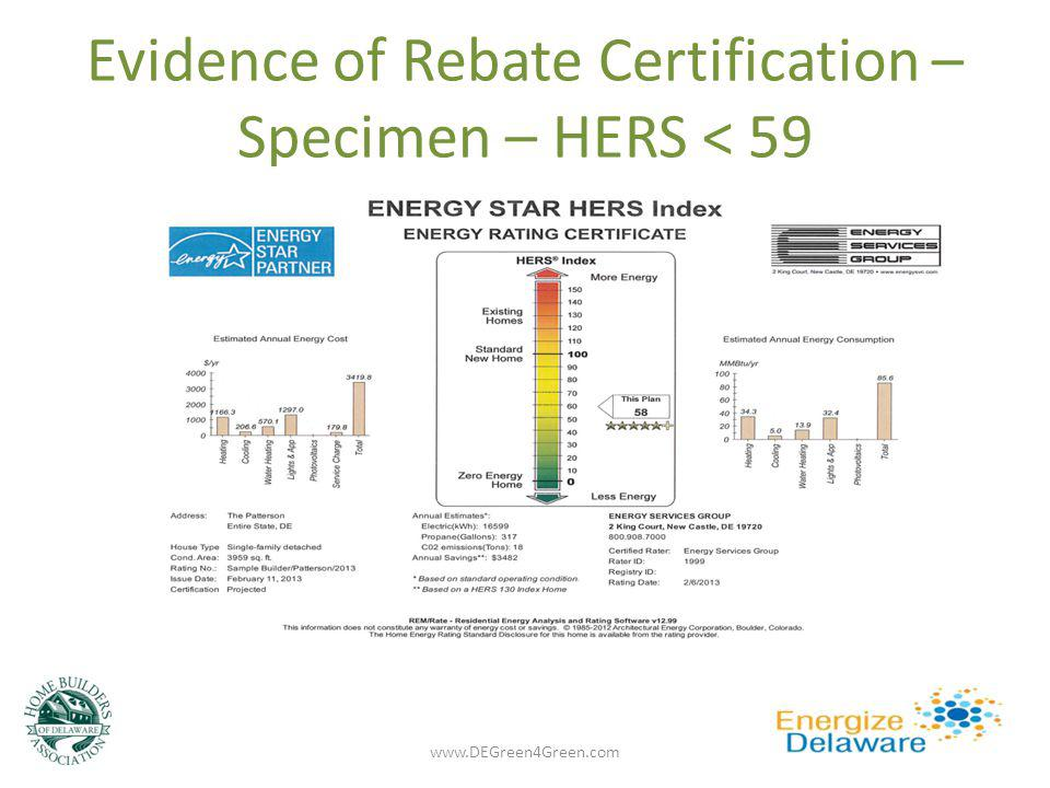 Evidence of Rebate Certification – Specimen – HERS < 59 3 rd party verified www.DEGreen4Green.com