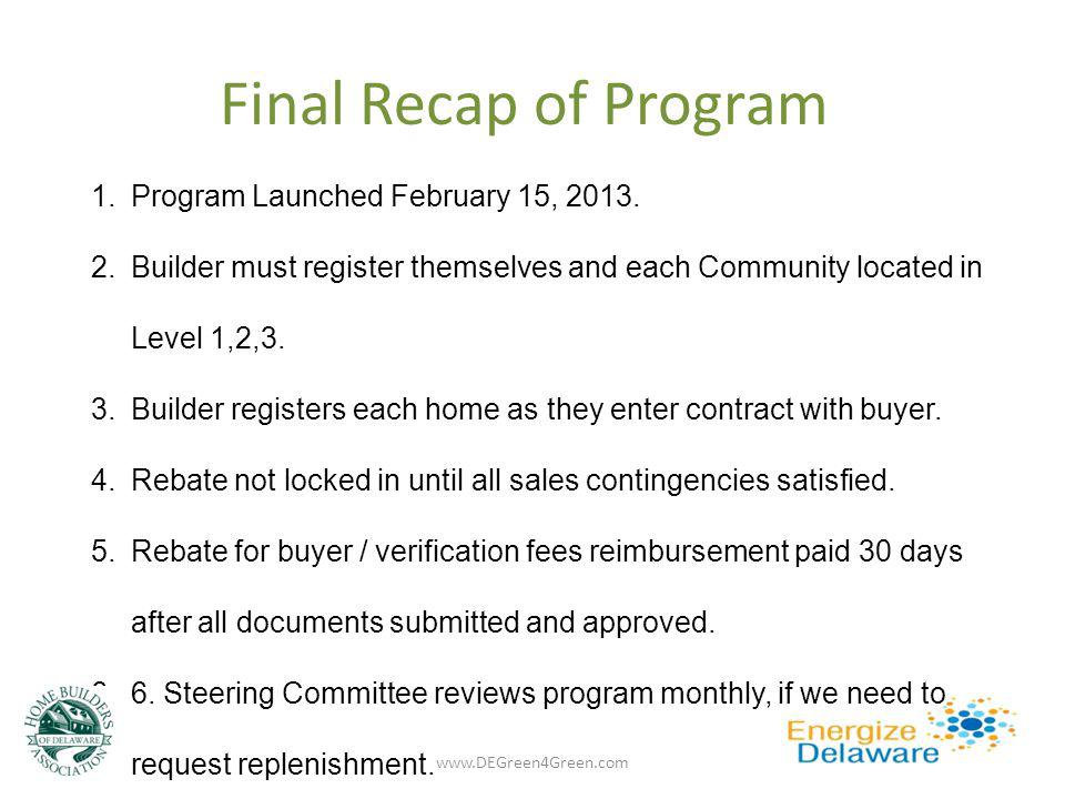 Final Recap of Program 1.Program Launched February 15, 2013. 2.Builder must register themselves and each Community located in Level 1,2,3. 3.Builder r