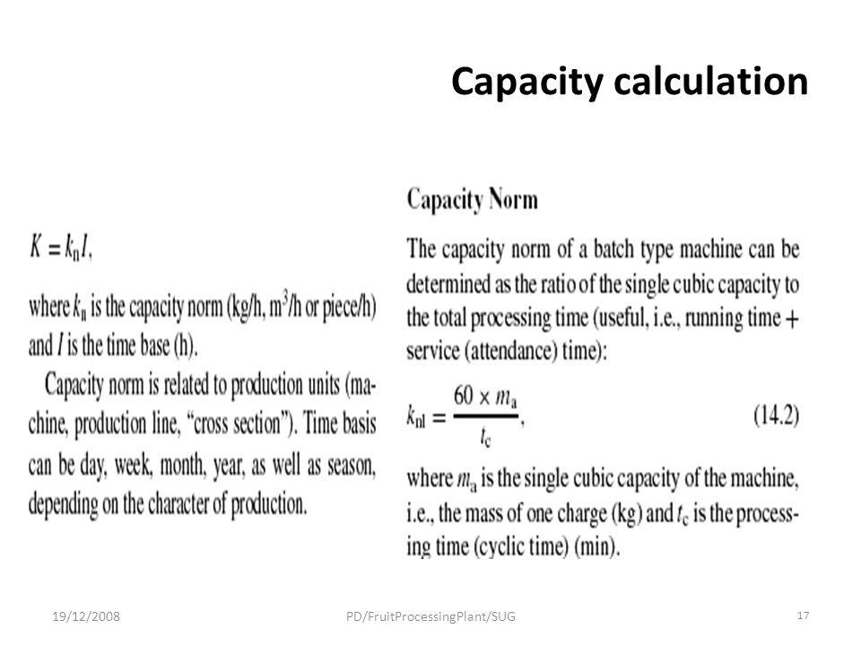Capacity calculation 19/12/2008PD/FruitProcessingPlant/SUG 17