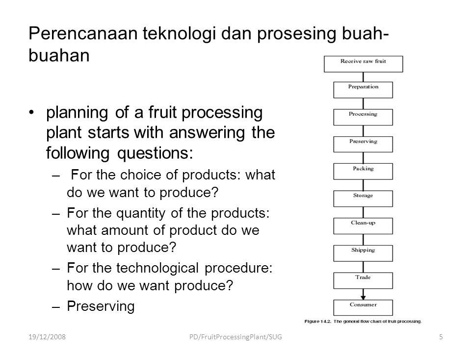 Energy optimization of the procedure 19/12/2008PD/FruitProcessingPlant/SUG 26