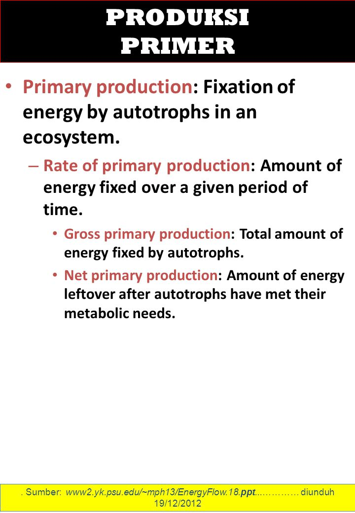 Primary production: Fixation of energy by autotrophs in an ecosystem.