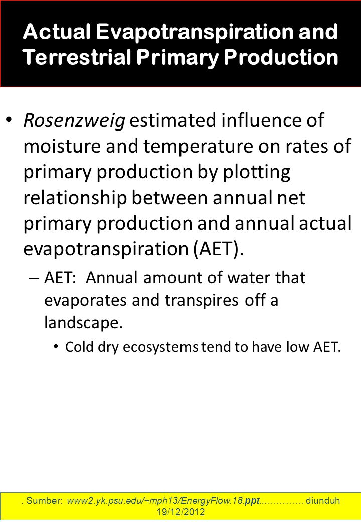 Actual Evapotranspiration and Terrestrial Primary Production Rosenzweig estimated influence of moisture and temperature on rates of primary production by plotting relationship between annual net primary production and annual actual evapotranspiration (AET).