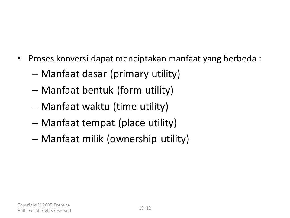 Proses konversi dapat menciptakan manfaat yang berbeda : – Manfaat dasar (primary utility) – Manfaat bentuk (form utility) – Manfaat waktu (time utili