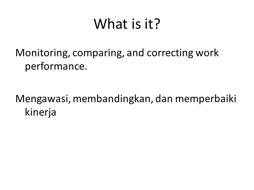 What is it? Monitoring, comparing, and correcting work performance. Mengawasi, membandingkan, dan memperbaiki kinerja