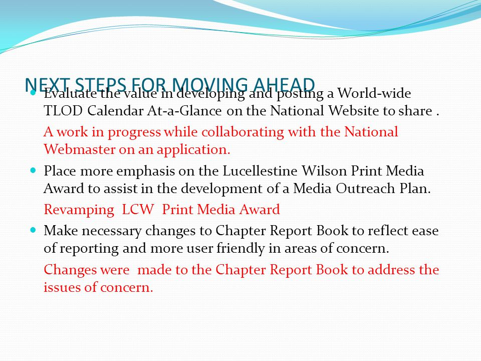 NEXT STEPS FOR MOVING AHEAD Evaluate the value in developing and posting a World-wide TLOD Calendar At-a-Glance on the National Website to share. A wo