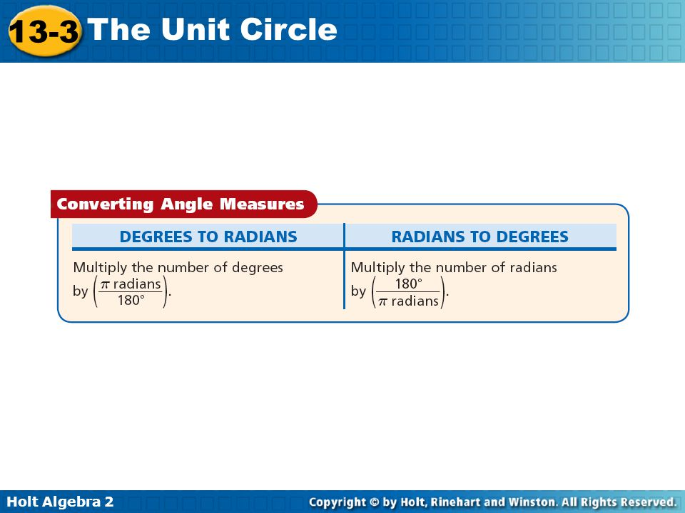 Holt Algebra 2 13-3 The Unit Circle Example 1: Converting Between Degrees and Radians Convert each measure from degrees to radians or from radians to degrees.
