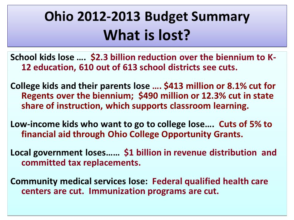 Ohio 2012-2013 Budget Summary What is lost. School kids lose ….