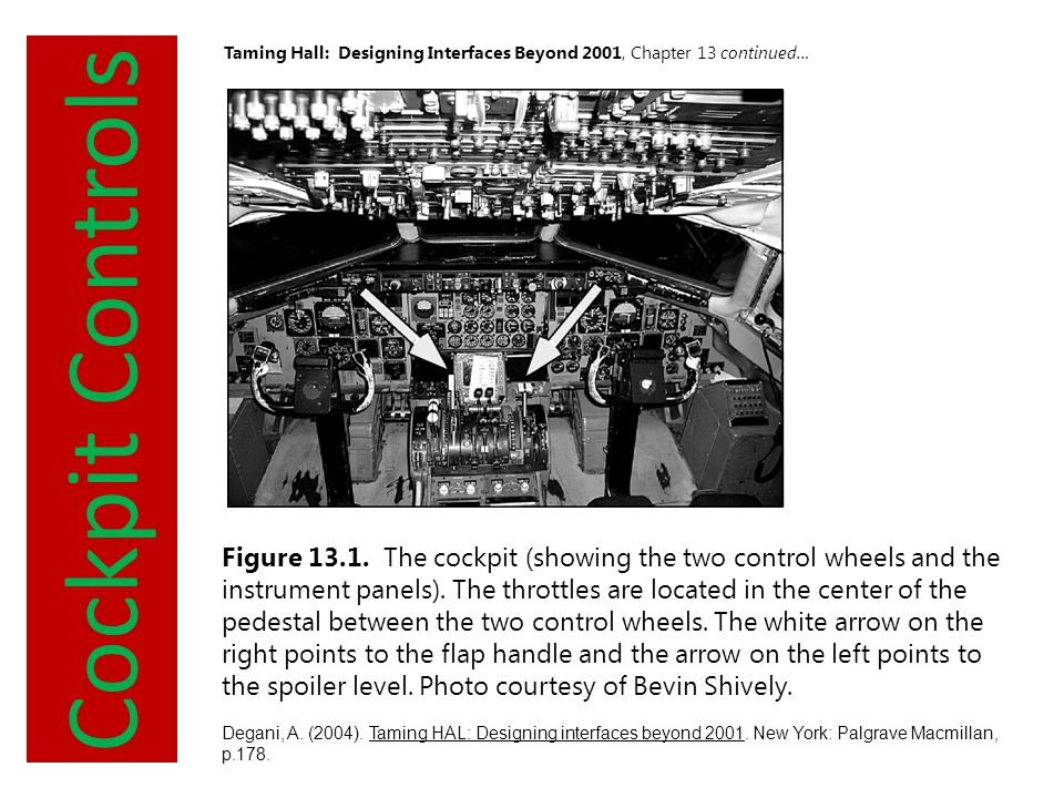 Summary Taming Hall: Designing Interfaces Beyond 2001, Chapter 13 continued… Summary Seemingly ordinary flight Pilots follow Before Landing Checklist First two items accomplished Error with third item on checklist o Pilot hesitated in arming spoiler lever (suspend) o Gear doors must close first o Pilot forgot to arm spoiler Poor visibility required relying solely on instruments until out of clouds Pilot realizes his missed arming spoilers – must lower manually at touchdown Airplane falls to the ground when pilot manually arms spoilers, tail touching down before wheels
