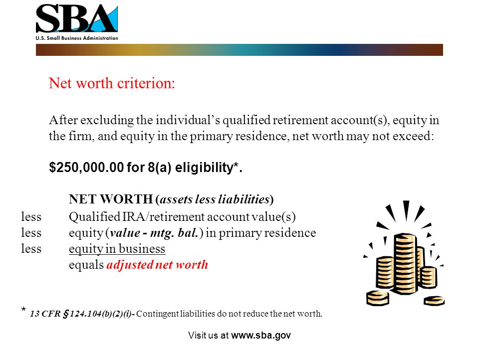 Visit us at www.sba.gov Economically disadvantaged individuals are socially disadvantaged individuals whose ability to compete in the free enterprise