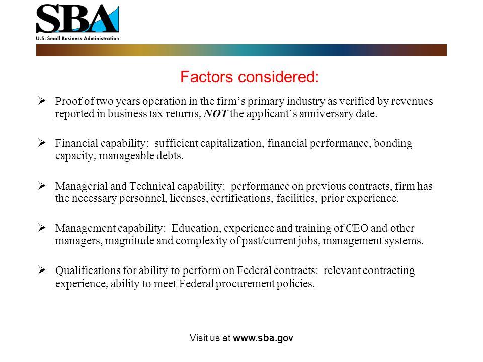 Visit us at www.sba.gov Potential for Success