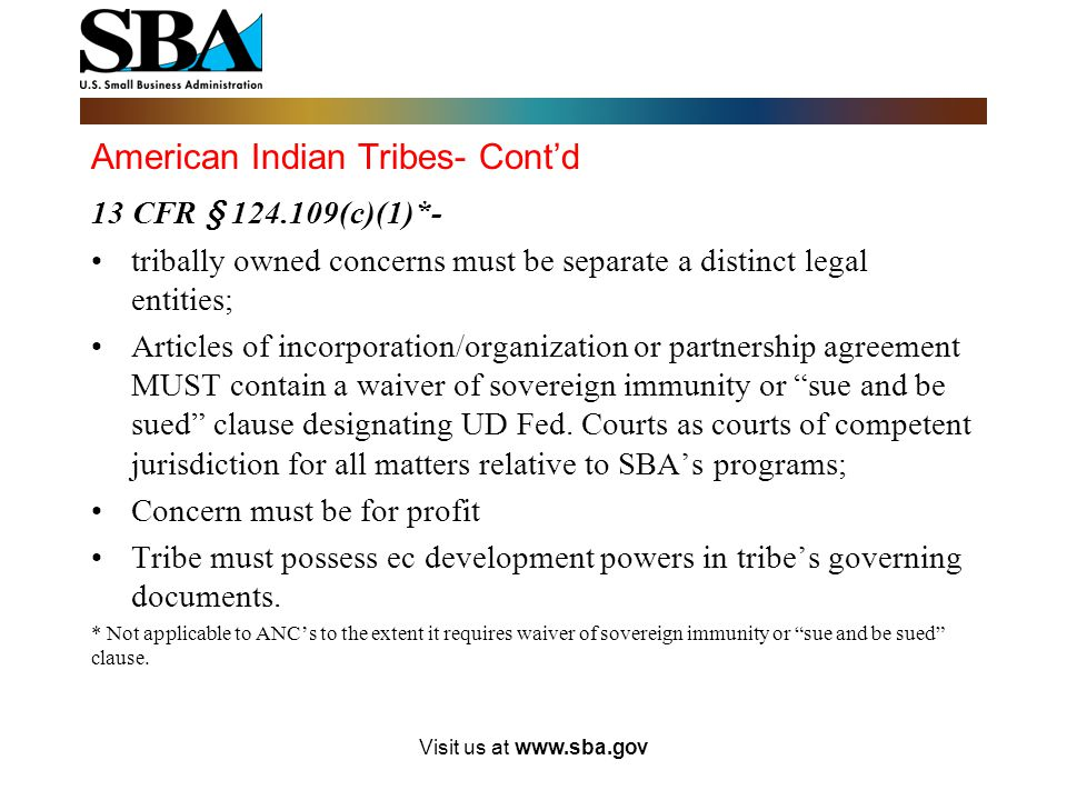 American Indian Tribes- Cont'd 13 CFR § 124.109(b)(3)-Tribes must provide the following: All governing documents (such as tribe's constitution or busi