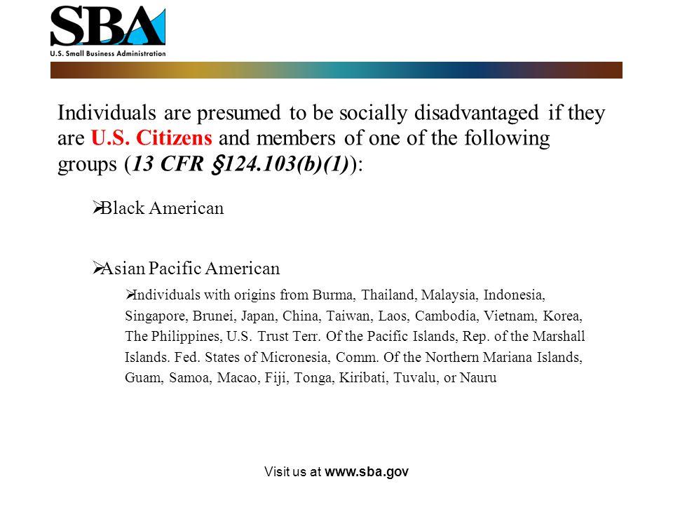 Visit us at www.sba.gov What constitutes Control?