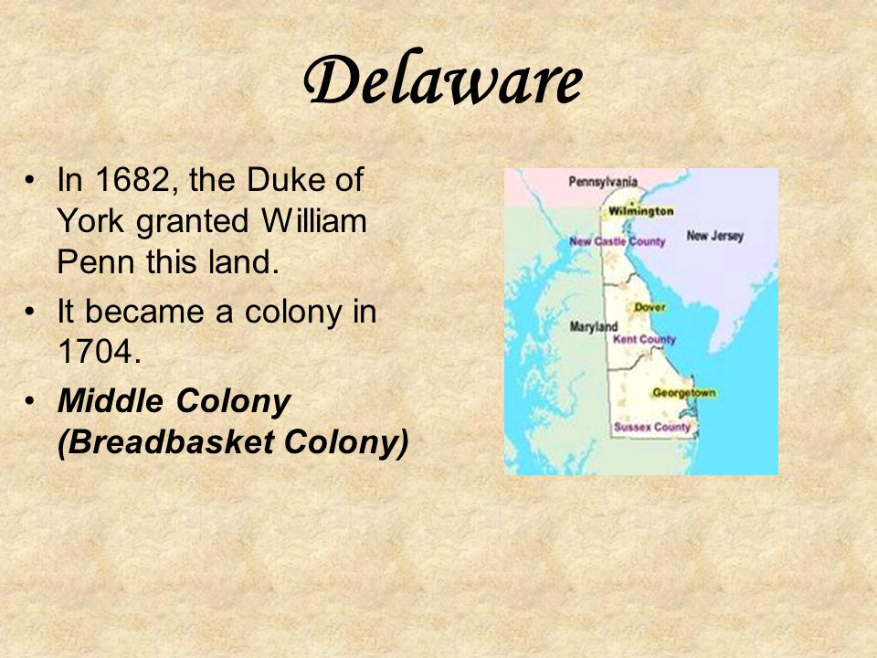 Pennsylvania In 1681, William Penn was granted a charter for land between Maryland and New York. King Charles was in debt to Penn's father. Penn was a