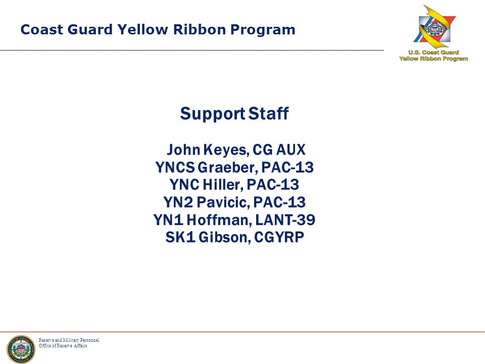 Reserve and Military Personnel Office of Reserve Affairs Coast Guard Yellow Ribbon Program TEXT YOUR QUESTION If you have a question at anytime during the sessions that you do not want to ask publicly you can text it discreetly to: 614-282-2104 Responses that may be beneficial to everyone may be broadcast to the audience.