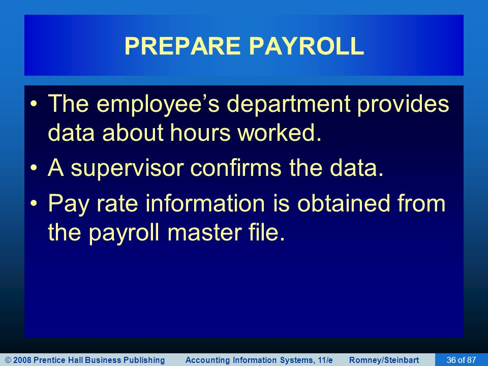 © 2008 Prentice Hall Business Publishing Accounting Information Systems, 11/e Romney/Steinbart36 of 87 PREPARE PAYROLL The employee's department provi