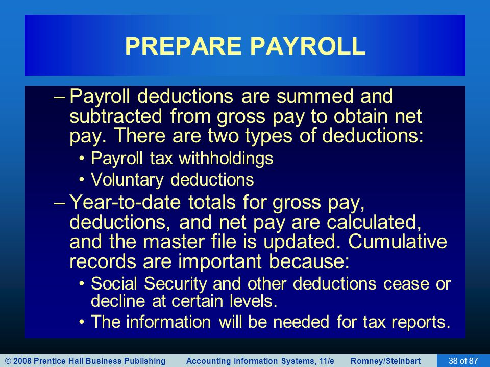 © 2008 Prentice Hall Business Publishing Accounting Information Systems, 11/e Romney/Steinbart38 of 87 PREPARE PAYROLL –Payroll deductions are summed