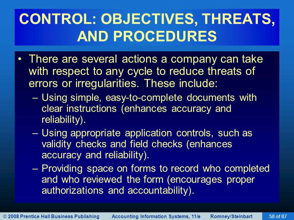 © 2008 Prentice Hall Business Publishing Accounting Information Systems, 11/e Romney/Steinbart58 of 87 CONTROL: OBJECTIVES, THREATS, AND PROCEDURES Th