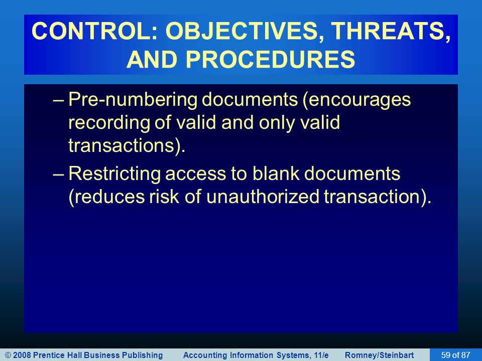 © 2008 Prentice Hall Business Publishing Accounting Information Systems, 11/e Romney/Steinbart59 of 87 CONTROL: OBJECTIVES, THREATS, AND PROCEDURES –P