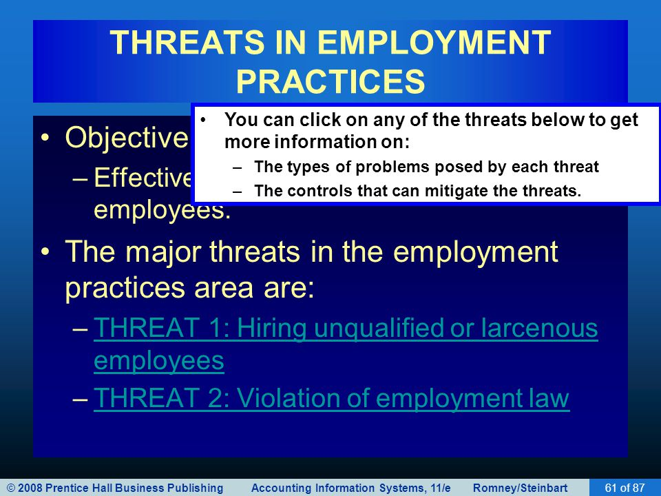 © 2008 Prentice Hall Business Publishing Accounting Information Systems, 11/e Romney/Steinbart61 of 87 THREATS IN EMPLOYMENT PRACTICES Objective: –Eff
