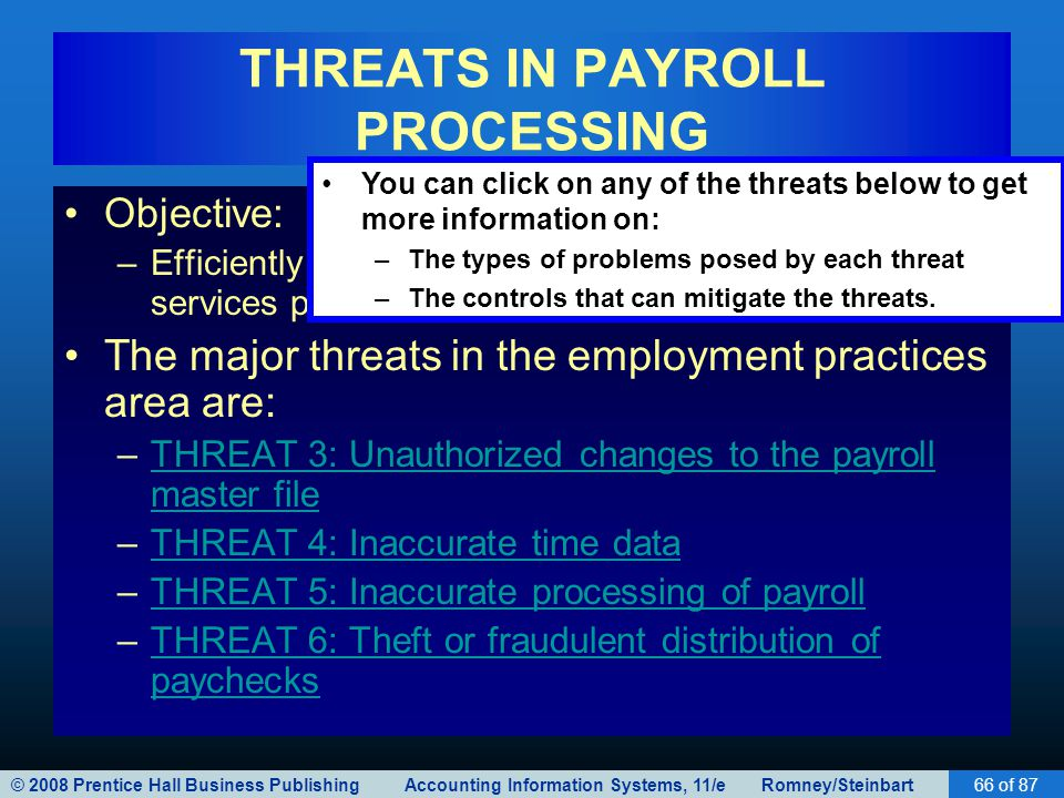 © 2008 Prentice Hall Business Publishing Accounting Information Systems, 11/e Romney/Steinbart66 of 87 THREATS IN PAYROLL PROCESSING Objective: –Effic