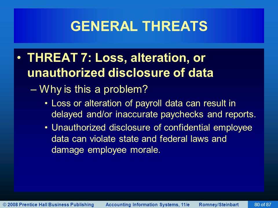 © 2008 Prentice Hall Business Publishing Accounting Information Systems, 11/e Romney/Steinbart80 of 87 GENERAL THREATS THREAT 7: Loss, alteration, or
