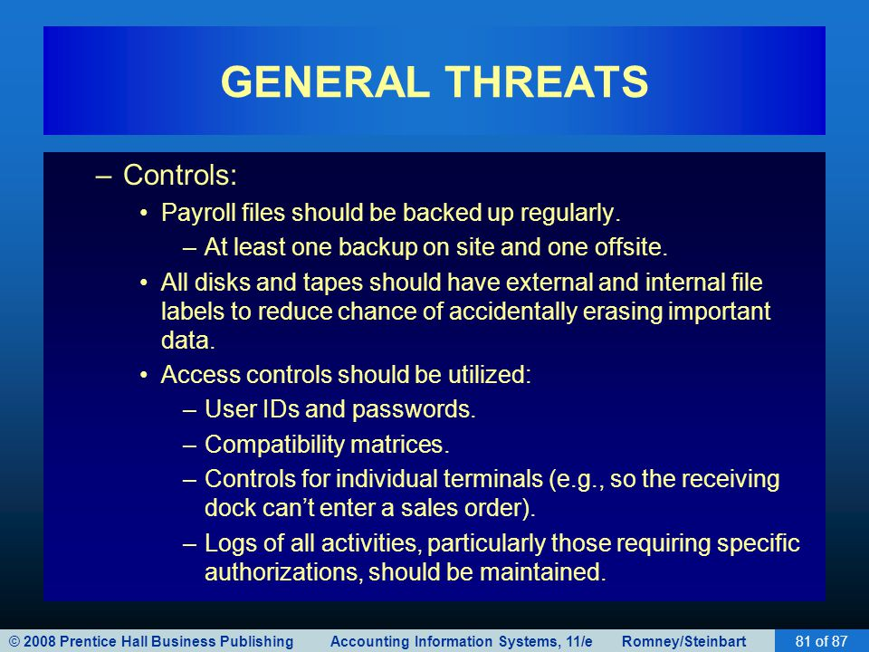 © 2008 Prentice Hall Business Publishing Accounting Information Systems, 11/e Romney/Steinbart81 of 87 GENERAL THREATS –Controls: Payroll files should