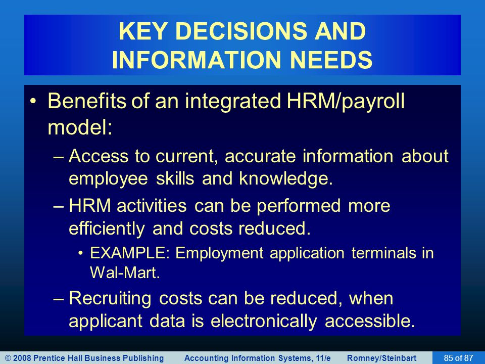 © 2008 Prentice Hall Business Publishing Accounting Information Systems, 11/e Romney/Steinbart85 of 87 KEY DECISIONS AND INFORMATION NEEDS Benefits of