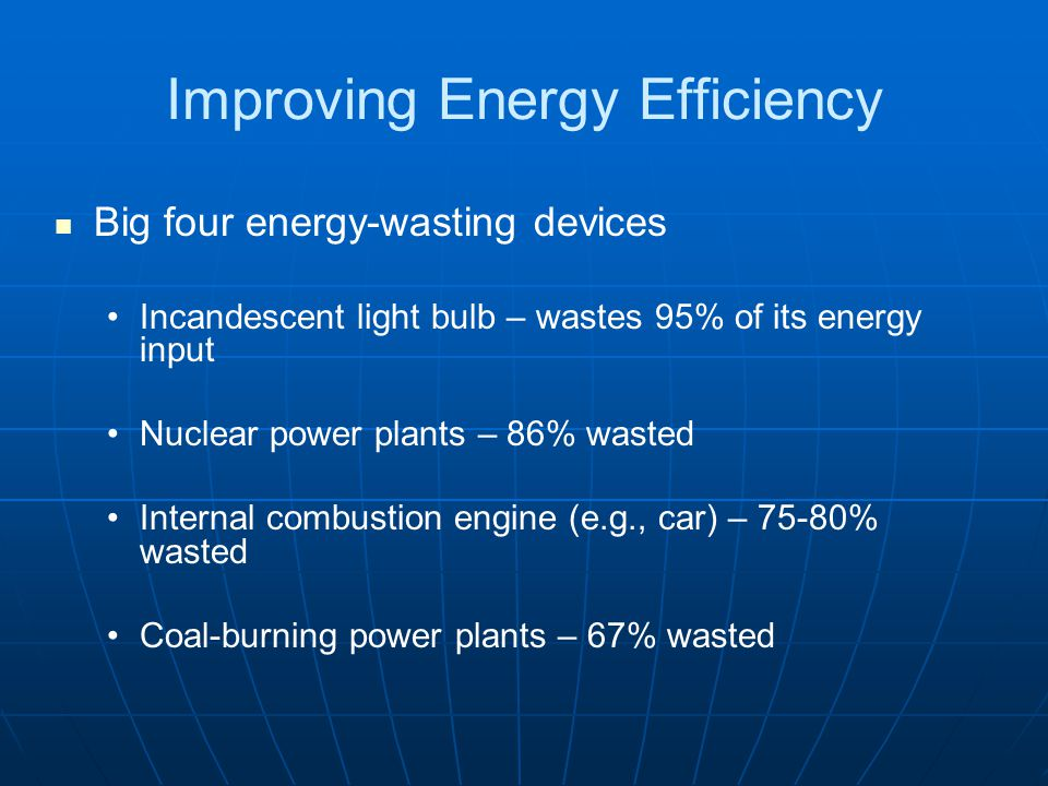 Improving Energy Efficiency Big four energy-wasting devices Incandescent light bulb – wastes 95% of its energy input Nuclear power plants – 86% wasted Internal combustion engine (e.g., car) – 75-80% wasted Coal-burning power plants – 67% wasted