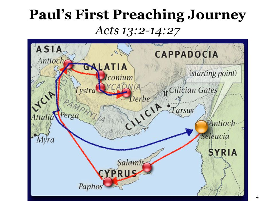 Paul's First Preaching Journey Acts 13:2-14:27 4