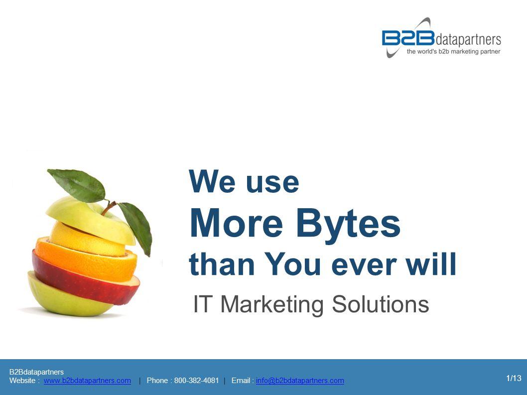 B2Bdatapartners Website : www.b2bdatapartners.com | Phone : 800-382-4081 | Email : info@b2bdatapartners.comwww.b2bdatapartners.cominfo@b2bdatapartners.com 1/13 IT Marketing Solutions We use More Bytes than You ever will