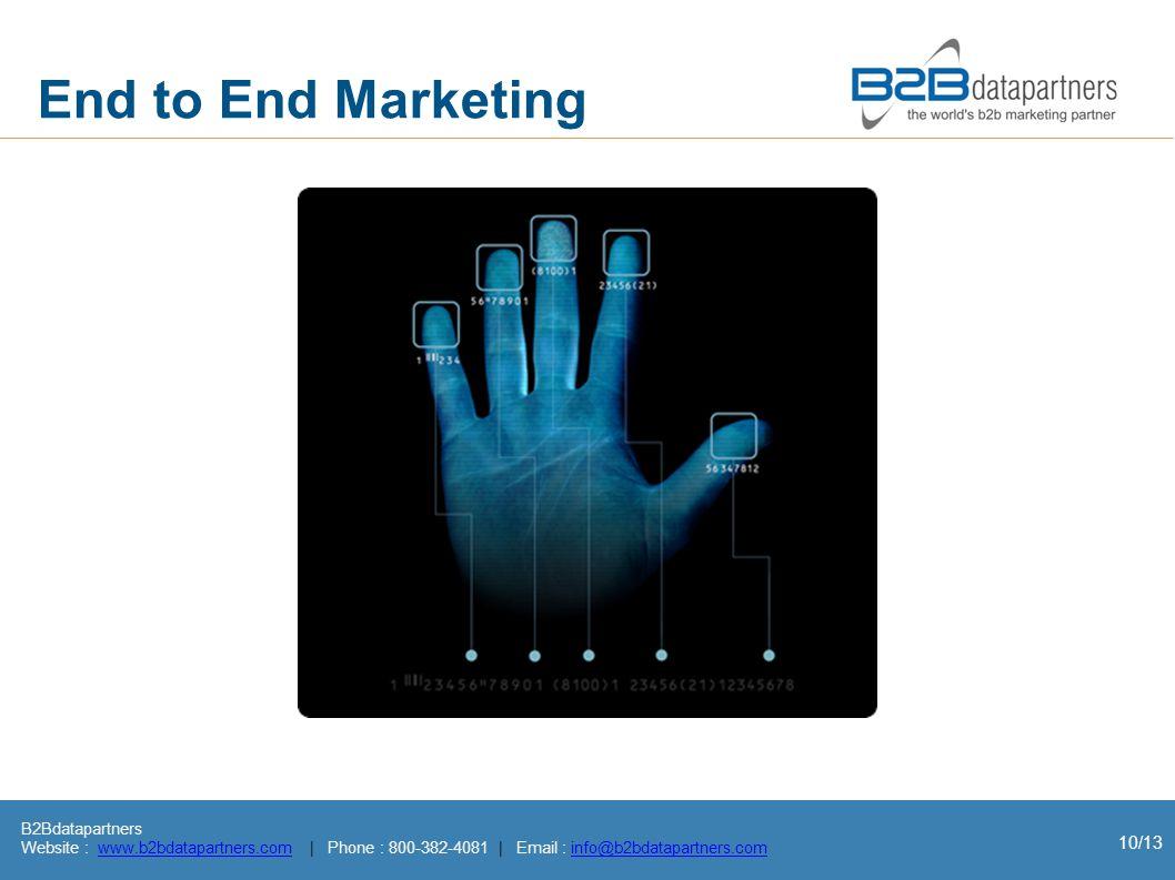 B2Bdatapartners Website : www.b2bdatapartners.com | Phone : 800-382-4081 | Email : info@b2bdatapartners.comwww.b2bdatapartners.cominfo@b2bdatapartners.com 10/13 End to End Marketing